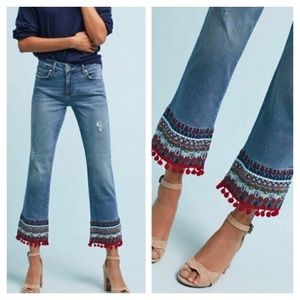 Anthro Pilcro ∙ Pom Pom Bootcut Cropped Jeans